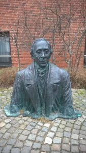 Statue of fairy tale author and Odense native Hans Christian Andersen. Photo by Mary Farabee.