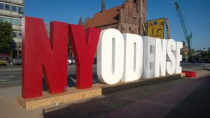 "The ""Hollywood"" Ny Odense sign in the city center. Photo by Mary Farabee."